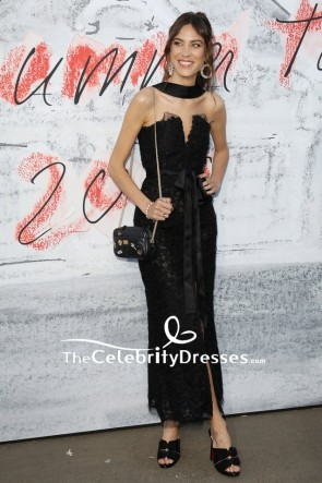 Alexa Chung Black Strapless Lace Cocktail Dress Serpentine Summer Party 2018