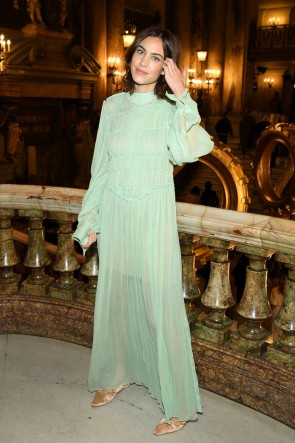 Alexa Chung Mint A-line See-through Maxi Dress With Sleeves