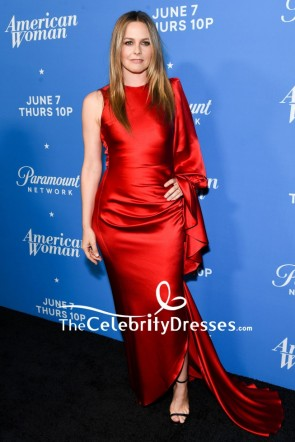Alicia Silverstone Dark Red One-Sleeve Evening Formal Dress Premiere Of American Woman