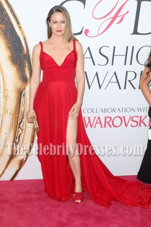 Alicia Silverstone Red High-slit Deep V-neck Evening Prom Gown 2016 CFDA Fashion Awards 1