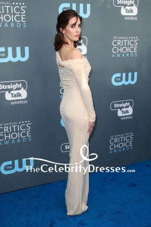 Alison Brie Off-the-shoulder Form Fitting Evening Prom Dress With Long Sleeves 2018 Critics' Choice Awards TCD7675