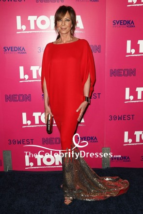 Allison Janney Red Mermaid Sequin Sleeves Evening Dress Premiere Of 'I, Tonya'
