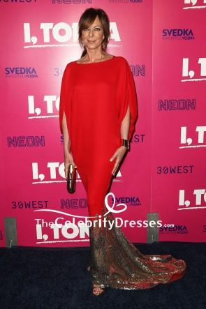 Allison Janney Red Mermaid Sequin Sleeves Evening Dress Premiere Of 'I, Tonya'