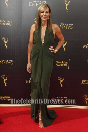 Allison Janney Sexy Deep V-neck Backless Slip Dress Creative Arts Emmy's Awards 2016 TCD7464