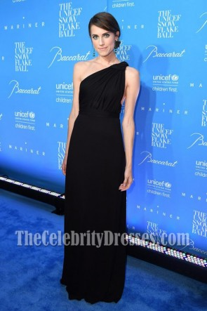 Allison Williams  Black One Shoulder Evening Prom Gown 12th Annual UNICEF Snowflake Ball  5