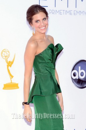 Allison Williams Green Formal Dress 2012 Emmy Awards Red Carpet Gown