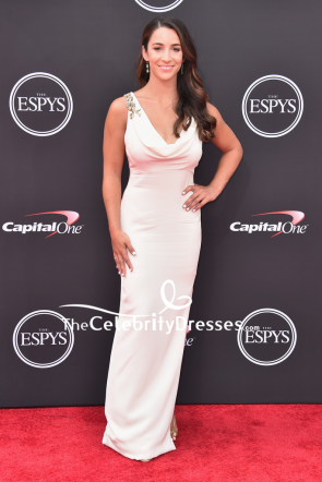 Aly Raisman White Cowl Neck Column Evening Dress 2018 ESPYS