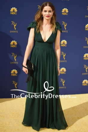 Amanda Peet Dark Green Empire Cap Sleeves Evening Dress 2018 Emmys