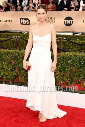 Amanda Peet  Ivory Spaghetti Straps Cutout Evening Prom Gown 2016 SAG Awards  4