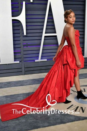 Amandla Stenberg Red Strapless Evening Dress 2019 Vanity Fair Oscar party TCD8319