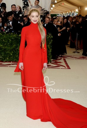 Amber Heard Red Long Sleeve Evening Dress 2018 Met Gala Red Carpet Gown TCD7897