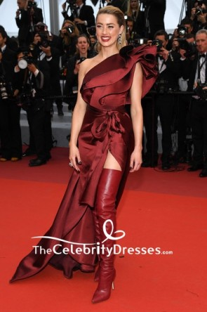 Amber Heard One Shoulder Burgundy High Slit Belt Prom Evening Dress 2019 Cannes Film Festival