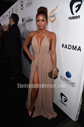 Cassie Ventura First-Ever All Def Movie Awards Spaghetti Straps Deep V-neck Evening Prom Gown