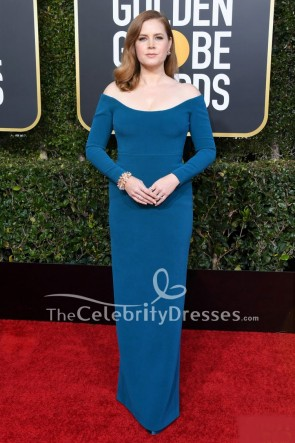 Amy Adams Blue Form-fitting Formal Dress With Sleeves Golden Globes 2019