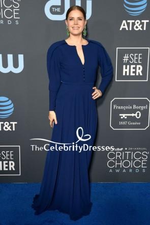 Amy Adams Dark Navy Evening Dress With Sleeves 2019 Critics' Choice Awards