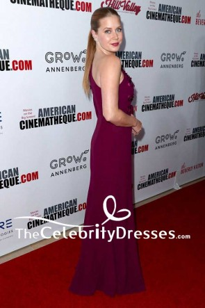 Amy Adams Plum One Shoulder Floral-appliqued Evening Dress With Sleeves 31st Annual American Cinematheque Awards Gala TCD7581