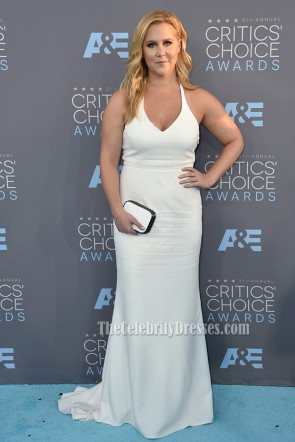 Amy Schumer Critics' Choice Awards 2016 Red Carpet White Halter Formal Dress 1