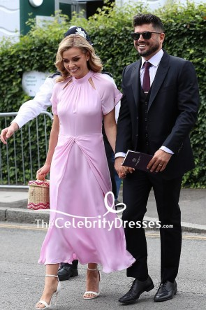 Andrew Levitas Candy Pink Cut Out Dress Wimbledon 2019