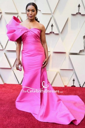 Angela Bassett Fuchsia One-shoulder Thigh-high Slit Formal Dress 2019 Oscars