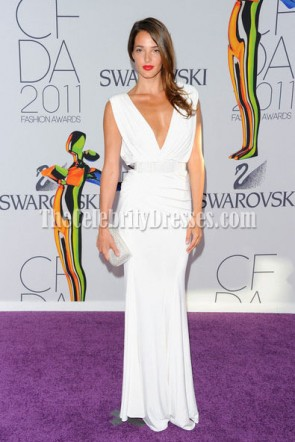 Angela Bellotte Sexy White Prom Gown Formal Dress 2011 CFDA Awards Red Carpet