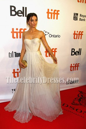 Angela Sarafyan Chiffon Spaghetti Strap Evening Prom Gown The Promise Premiere 2016 3