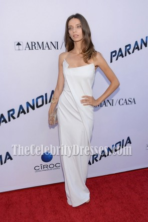 Angela Sarafyan White Strapless Prom Gown Paranoia Premiere 1