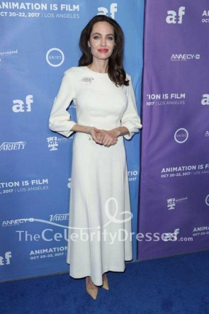 Angelina Jolie Ivory Simple Evening Dress With Sleeves Premiere Of The Breadwinner TCD7555