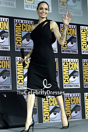 Angelina Jolie One-shoulder Black Little Dress Comic-Con International 2019
