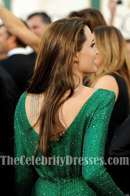 Angelina Jolie Green Sequined Prom Formal Dress Golden Globes 2011