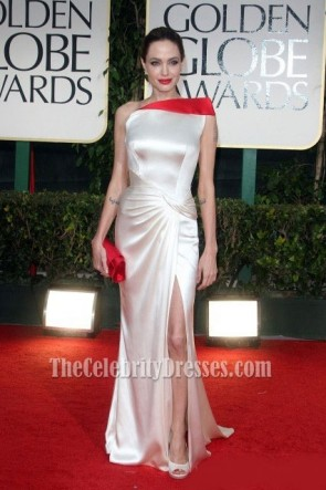 Angelina Jolie One Shoulder Prom Dress Evening Gown 2012 Golden Globes Awards Red Carpet