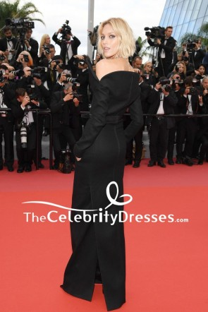 Anja Rubik Black Column Evening Dress With Long Sleeves 2018 Cannes Film Festival Red Carpet TCD7871