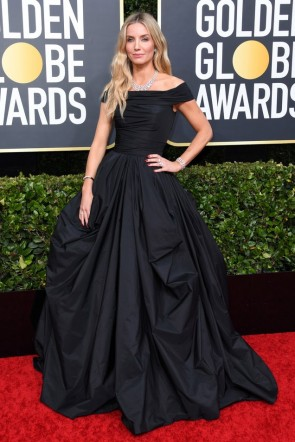 Annabelle Wallis Black Off-the-shoulder Ball Gown 2020 Golden Globes