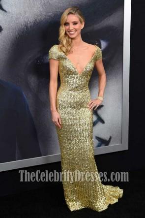 Annabelle Wallis Gold Sequins Cap Sleeves Deep V-neck Column Gown The Mummy New York Fan Event