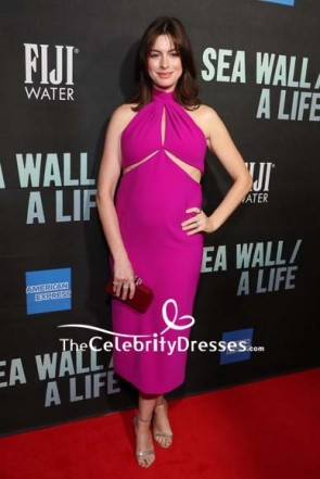 Anne Hathaway fuchsia Maternity Dress Broadway opening of 'Sea Wall/ A Life.'