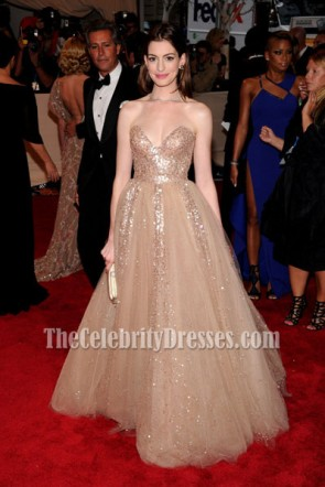 Anne Hathaway Strapless Gold Sequined Prom Dress Met Ball 2010 Red Carpet