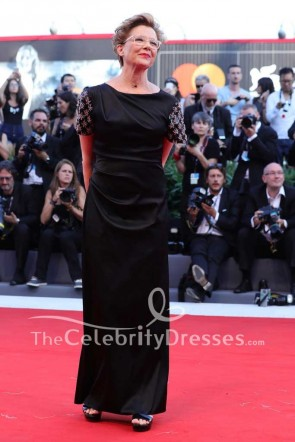 Annette Bening Black Short Embellished Sleeves Sheath Evening Dress 2017 Venice Film Festival TCD7487