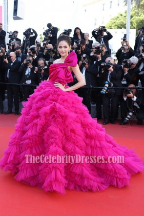 Araya Hargate Fuchsia One-shoulder Backless Princess  Ball Gown 2017 Cannes Film Festival TCD7250