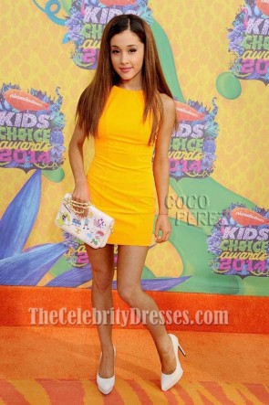 ARIANA GRANDE Yellow Mini Party Dress 2014 Nickelodeon's Kids' Choice Awards Orange Carpet