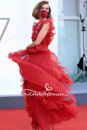 Arizona Muse Red Plunging Pleated Formal Dress 2020 Venice Film Festival TCD9011