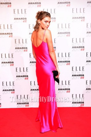 Arizona Muse Fuchsia Spaghetti Strap Slip Plunging Evening Dress  Elle Style Awards 2017 TCD7142