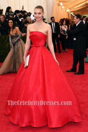Arizona Muse Red Strapless Ball Gown Evening Dress MET Ball 2014