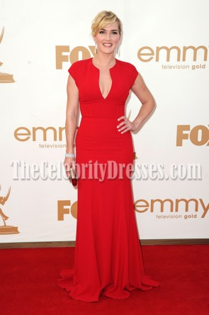 Kate Winslet Red Prom Gown Formal Dress 63rd Primetime Emmy Awards 2011 Red Carpet