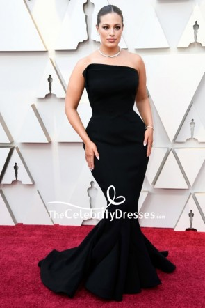 Ashley Graham Black Strapless Mermaid Formal Dress 2019 Oscars