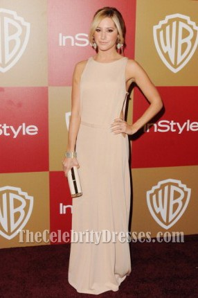 Ashley Tisdale Champagne Prom Dress Golden Globe Awards After Party