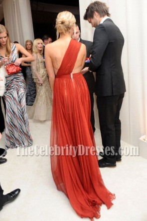Ashley Tisdale Red One Shoulder Evening Dress Oscar Awards 2012 Party