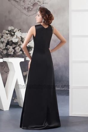 Asymmetric Neckline Black Long Evening Gown Formal Prom Dresses