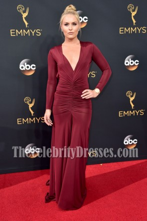 Athlete Lindsey Vonn Burgundy Deep V-neck Evening Dress 68th Annual Emmy Awards 3