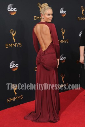 Athlete Lindsey Vonn Burgundy Deep V-neck Evening Dress 68th Annual Emmy Awards TCD7000