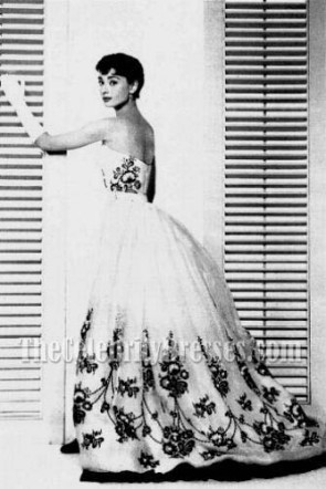 Audrey Hepburn Vintage Wedding Dress Ball Gown in Movie Sabrina