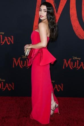 Auli'i Cravalho Red Strapless Ruffled Evening Dress World Premiere of 'Mulan' TCD8888